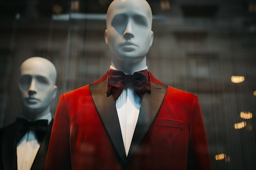 Black, Red, Suit, Tie, Clothing, Mannequin, Shopping