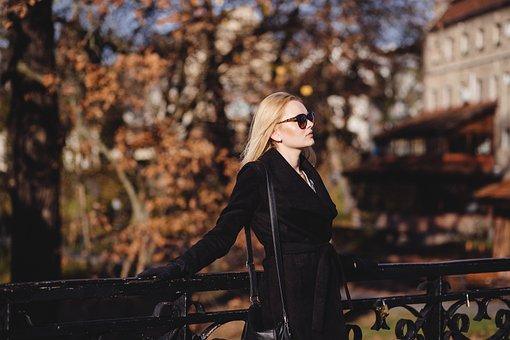 People, Woman, Girl, Black, Dress, Sunglasses, Bag