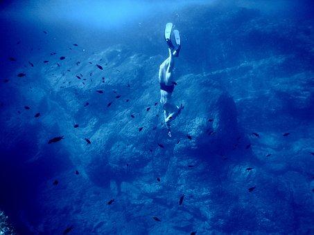 Sea, Ocean, Blue, Water, Nature, Underwater, People