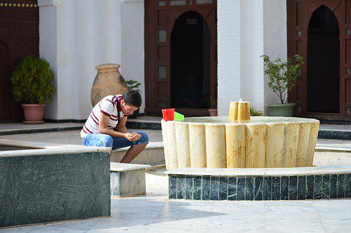 Men, Pray, Water, Mosque, Algeria, Big Mosque