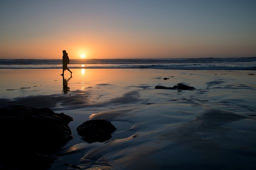 Sea, Ocean, Water, Nature, Snow, Winter, Sunset