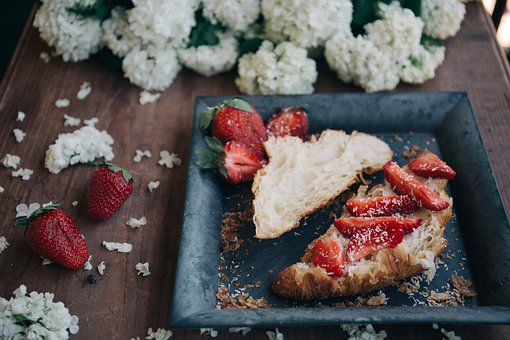 White, Flower, Plate, Bread, Red, Food, Strawberry