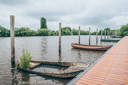 Wooden, Post, Bay, Boat, Lake, Water, Reflection, Trees