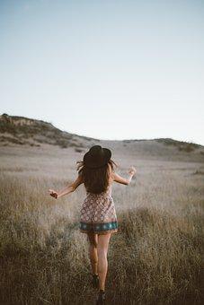 People, Girl, Walking, Alone, Outdoor, Grassland