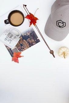 Coffee, Cup, Mug, Magazine, Leaf, Fall, Autumn, Hat