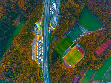 Aerial, View, Autumn, Fall, Trees, Plant, Nature, Green