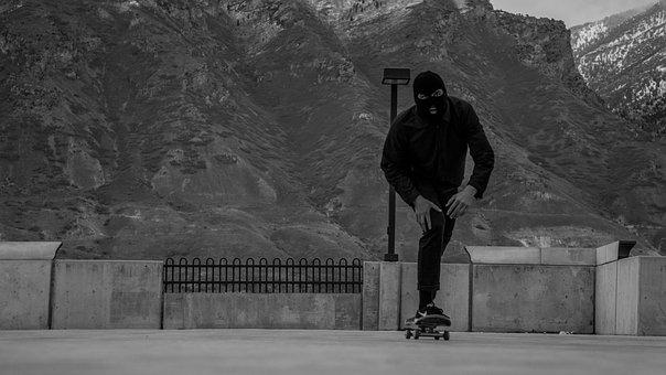 Black And White, People, Man, Skateboarding, Sport