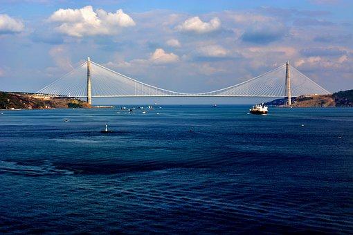 Sea, Ocean, Water, Blue, Sky, Cloud, Nature, Bridge