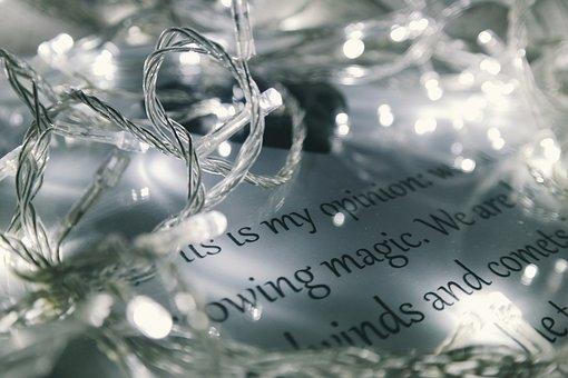Letter, Text, Christmas, Card, Lights, Blur, Bokeh