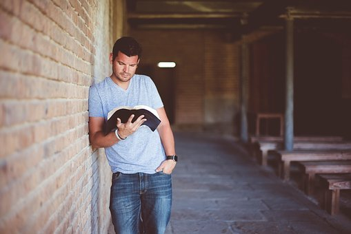 People, Man, Alone, Reading, Book, Bible, Inside
