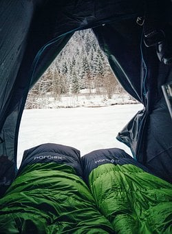 Green, Sleeping, Bag, Tent, Camping, Cold, Winter, Snow