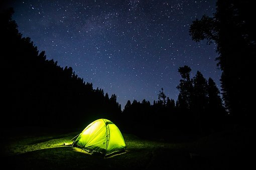 Dark, Night, Blue, Sky, Stars, Galaxy, Light, Tent