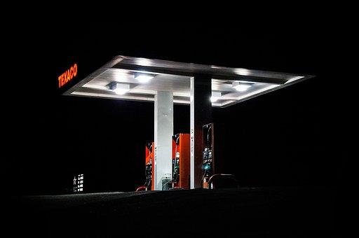Dark, Night, Gas, Station, Texaco
