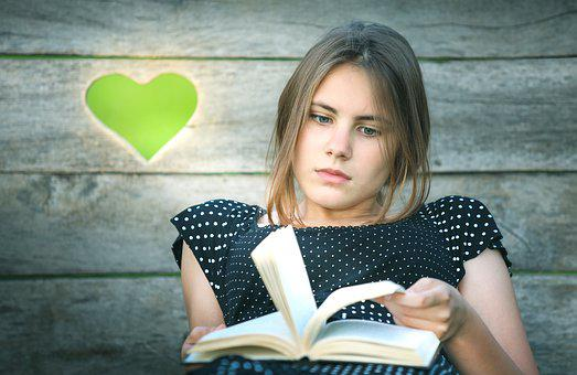 Book, Girl, Heart, Literature, Reading, Library
