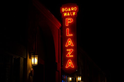 Dark, Night, City, Signage, Plaza, Light, Lamp