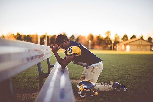 Man, People, Kneel, Praying, Bench, Helmet, Playground