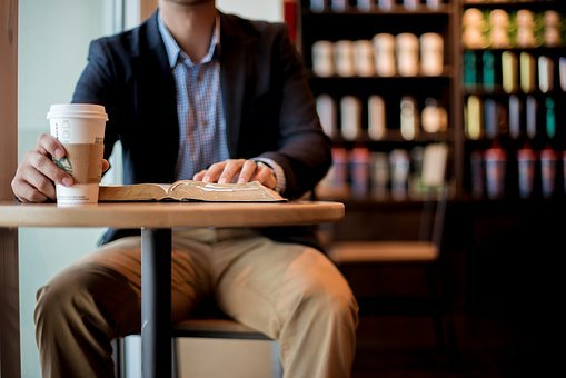 People, Man, Chair, Table, Coffee, Reading, Book, Bible