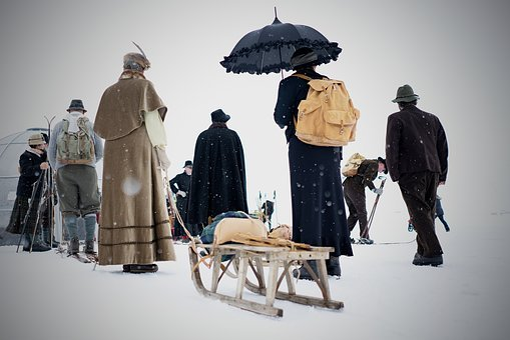 People, Snow, Winter, Men, Umbrella, Clothing, Cold