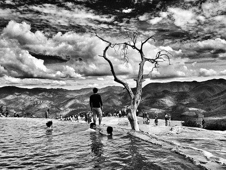 Black And White, Swimming, Pool, People, Kids, Men