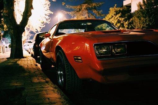 Red, Car, Vehicle, Parking, Street, Pant, Tree, Night