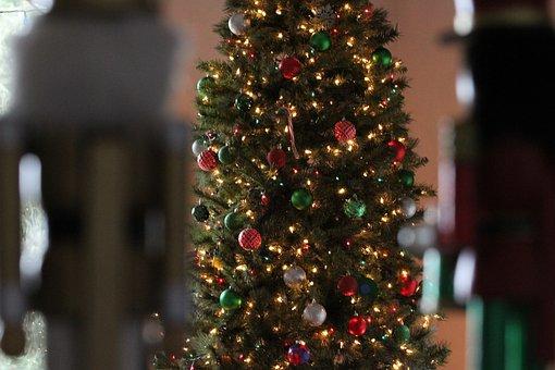 Christmas, Ball, Tree, Lights, Red, Blue, Green, White