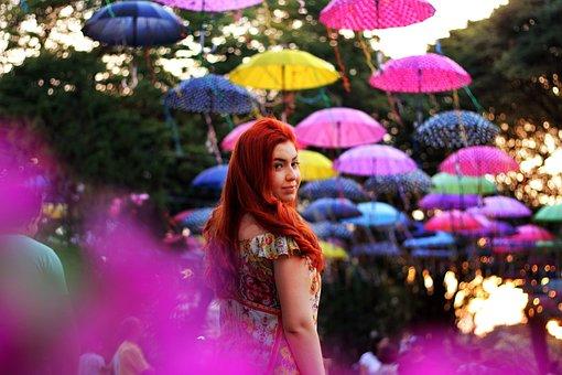 People, Girl, Woman, Colorful, Umbrella, Festival