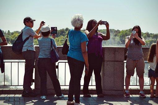 People, Men, Women, Wall, Tourist, Destination, Selfie