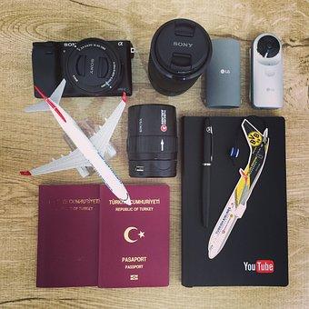 Airplane, Business, Camera, Passport, Notebook, Pen
