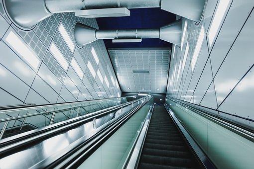 Architecture, Building, Infrastructure, Escalator, Down