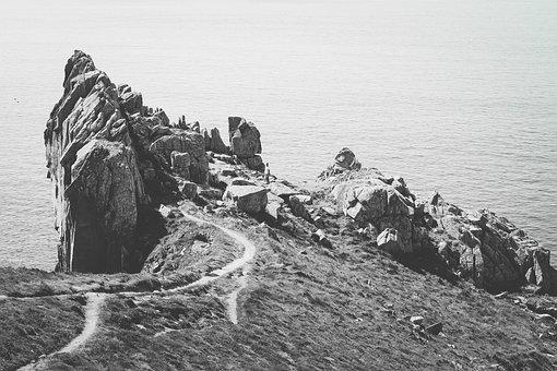 Black And White, Path, Grass, Nature, Landscape, Cliff