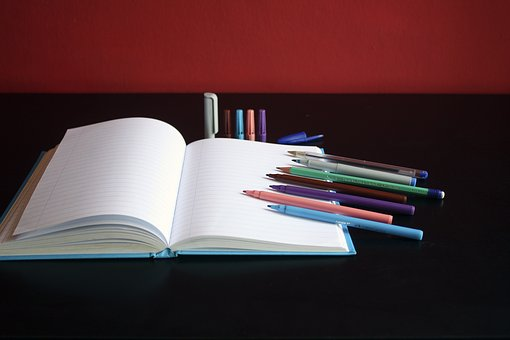Notebook, Paper, Colored, Color, Pen, Art, Material