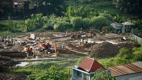Rural, Area, House, Heavy, Equipment, Construction