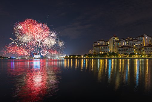 Fireworks, City, Urban, Night, Lights, Buildings