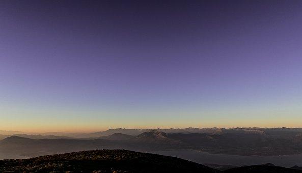 Sky, Mountain, Highland, Peak, Ridge, Sunset