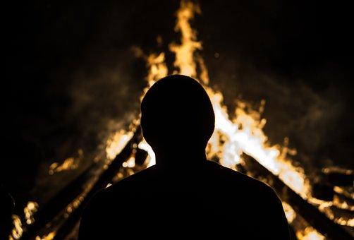 Dark, Night, Bonfire, Flame, Light, Hot, Firewood, Fire