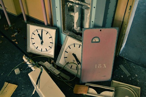 Junk, Shop, Recycle, Wall, Clock, Cor