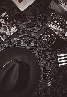 Camera, Lens, Photography, Cap, Black, Hat, Leather