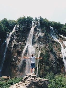 Waterfall, Hill, Green, Grass, Moss, Trees, Plant