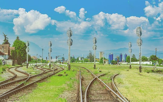 Green, Grass, Field, Railway, Track, Pole, Steel, Sign