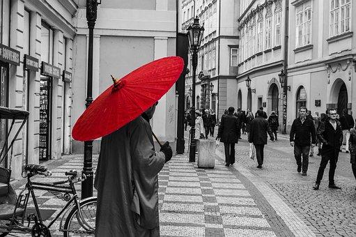 Architecture, Building, Infrastructure, Red, Umbrella