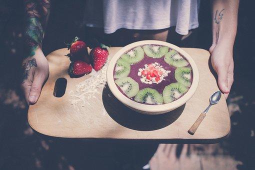 Fruit, Salad, Food, Kiwi, Strawberry, Spoon, Bowl, Ube