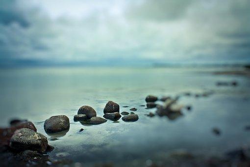 Sea, Ocean, Water, Rock, Blur