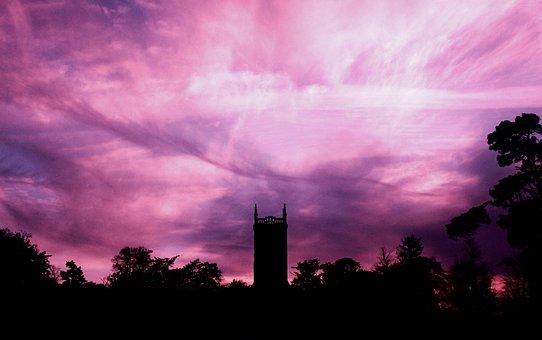 Sky, Clouds, Trees, Building, Silhouette, Dark, Sunset