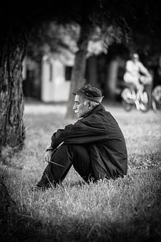 Grass, People, Old, Man, Sad, Black And White, Trees