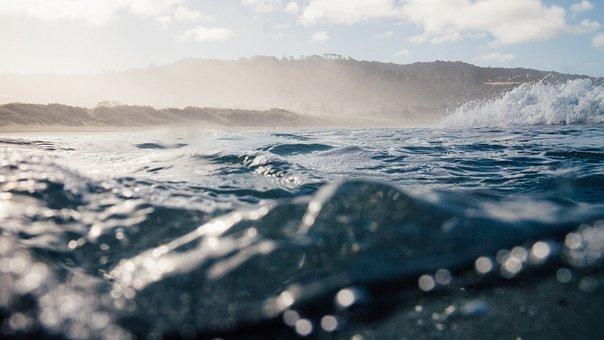 Sea, Ocean, Water, Waves, Nature, Bokeh, Blur, Mountain