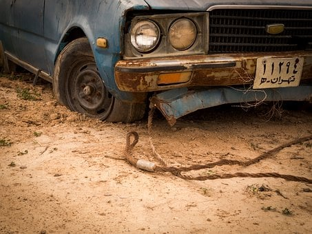 Old, Rusty, Car, Rope, Vehicle, Wheel