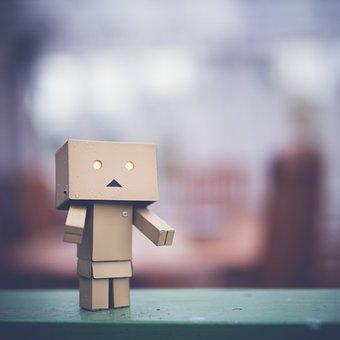Danbo, Sad, Art, Box, Cardboard, Robot