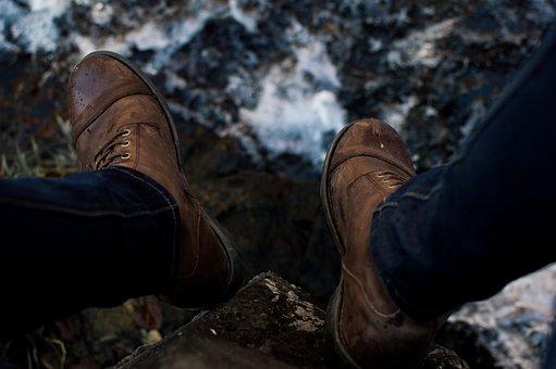 Brown, Leather, Shoe, Footwear, Jeans, Waterfall