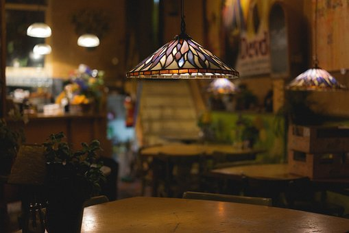 Table, Chairs, Light, Lamp, Flower, Plant, Bar