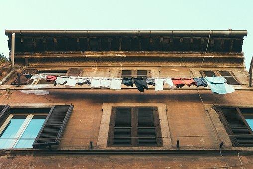 Building, House, Window, Laundry